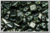 SILKY-Beads, 6x6mm, black, op., picasso, 25 Stk.