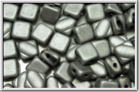 SILKY-Beads, 6x6mm, black, op., full silver, matte, 25 Stk.