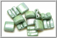2-Loch-FixerBeads, horizontal, 8x8mm, white, op., green marbled, 12 Stk.