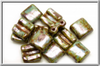 2-Loch-FixerBeads, horizontal, 8x8mm, white, op., blue/brown marbled, 12 Stk.