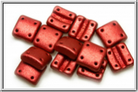 4-Loch-FixerBeads, vertikal, 8x8mm, lava red, met., satin, 12 Stk.