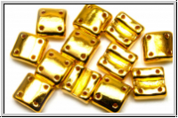 4-Loch-FixerBeads, vertikal, 8x8mm, crystal, trans., full 24kt gold plated, 12 Stk.