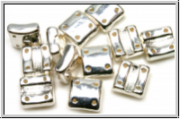 4-Loch-FixerBeads, vertikal, 8x8mm, crystal, trans., full sterling silver plated, 12 Stk.