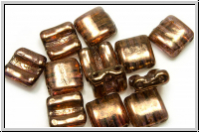 2-Loch-FixerBeads, horizontal, 8x8mm, crystal, trans., lila gold luster, 12 Stk.