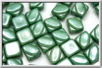 SILKY-Beads, 6x6mm, white, alabaster, green marbled, 25 Stk.