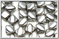 SILKY-Beads, 6x6mm, crystal, trans., full silver, 25 Stk.