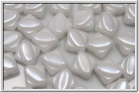 SILKY-Beads, 6x6mm, white, alabaster, luster, 25 Stk.